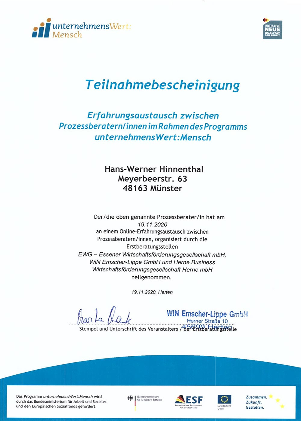 Hinnenthal Consulting Zertifikat